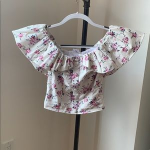 LPA ruffle floral crop top never worn NWT size XS